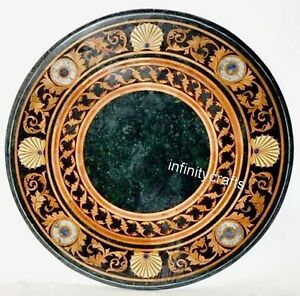 27 Inches Round Marble Table Top Marquetry Art Coffee Table from Cottage Crafts