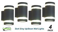 4 x Dark Grey Charcoal Up/Down Outdoor Exterior Wall Light - 240V GX53
