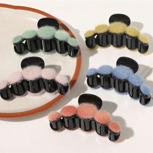 Winter Women Fashion Mink Fur Hairball Hair Clip Candy Color Plush Hair Claws