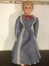 24 Inch Tin Head Marked Minerva Doll Germany Glass Eyes Nice Clothes & Condition