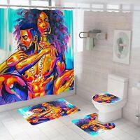 Lover Bathroom Rug Set Shower Curtain Thick Non-Slip Toilet Lid Cover Bath Mat