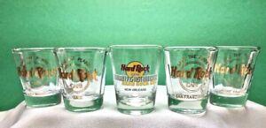 HARD ROCK CAFE SHOT GLASSES •5• SAN FRANCISCO MAUI NEW ORLEANS
