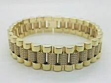 """9ct Yellow Solid Gold President Style CZ Bracelet - 8"""""""
