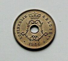 1904 BELGIUM Belgie Coin - 5 Centimes - UNC - toned-lustre