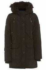 NEW WOMENS BLACK / NAVY LADIES PADDED WINTER QUILTED BLACK FUR COAT SIZE 8-16