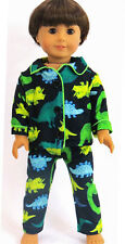 "Dinosaur Pajamas for 18"" American Girl Boy Logan Doll Clothes"