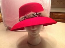 Vintage Ladies Hat Red Wool With Multicolored Feathers on Band CUTE and FUN!!!