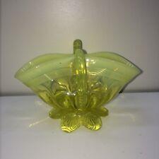 Antique Davidson Lemon Pearline Vaseline Glass Lady Caroline 2 Handled Bowl