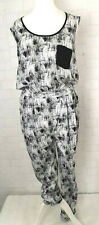 RIVER ISLAND Ladies Black&White Long Jumpsuit Play Suit UK 10 Sleeveless - 873