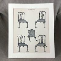 1900 Chippendale Sedie da Pranzo Fuoco Schermo Mobili Originale Antico Stampa