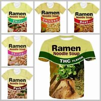 3D Print Ramen Noodle Soup Funny Casual T-Shirt Men Women Short Sleeve Tops Tee