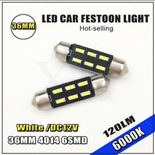 """2PCS 6SMD 1.50"""" 36mm 4014 /3014 C5W LED Bulb For Car License Plate Light DC12V"""