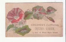 Original Garson Children's Clothing West Main St Pink Flower  Vict Card c 1880s