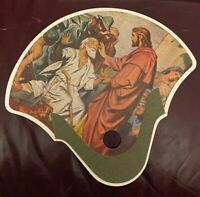 Vintage Hand Fan Jesus Christ Salvation Army Service that Never Ceases Charity
