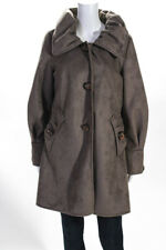 Montanaco  Womens Button Down 3/4 Length Coat Brown  Size Large