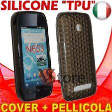 Cover Custodia Silicone Gel TPU Nero Per Nokia 603 silicone