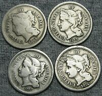 1865 1866 1867 1872 Copper Nickel Three Cent Piece Type Coin Nice Lot ---- #L722