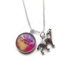 Cúpula de vidrio 20 mm de Teen Wolf tema sol, la Luna, verdad Plateado Plata Collar Regalo Del Ventilador
