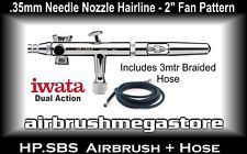 Iwata Eclipse Airbrush HP.SBS .35mm Inc: 3mtr Braided Hose + Free Insured Post
