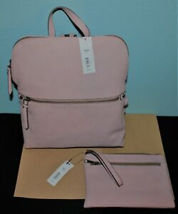 KOHL'S Sonoma  BACKPACK Handbag w Matching WRISTLET/ Wallet LILAC FAUX LEATHER