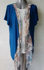 L.Linda Teal Blue Open Front Jacket with Frill, Short Sleeve, Plus Size 18 NWOT
