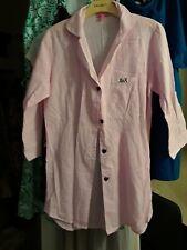 Betsey Johnson Pink White Stripe Heart Button Down Shirt Size Medium M