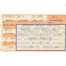 BARRY MANILOW Concert Ticket Stub NEW YORK NYC 3/3/93 RADIO CITY MUSIC HALL Rare