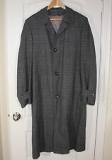 Vtg MAURICE L ROTHSCHILD Lined Gray Mens Harris Tweed Trench Coat 44 46 Large