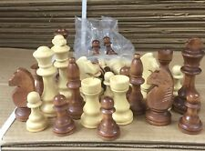 CHESS  Set Of 32 Wooden Parts,Pieces - king size 3.5 Inch (8.8 Cm) white & brown