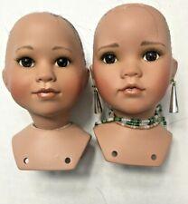 "New Listing Porcelain Doll Parts Lot x2 Head/Bust Tan Skin repair Ooak crafting 4"" Tall"