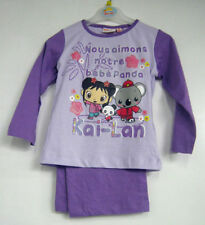 Vêtements ensemble pyjama violette pour fille de 2 à 16 ans