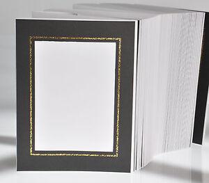 Portraitmappe / Leporello für 100 Fotos 13x18 - schwarz mit Goldkante - FA333G
