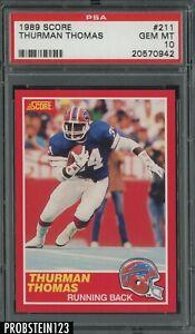 "1989 Score Football #211 Thurman Thomas RC Rookie HOF PSA 10 "" PACK FRESH """