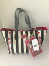 Betsey Johnson White/Black Tote Shopper Handbag With Smart Phone Pouch NWT