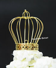 GOLD CROWN BIRTHDAY CAKE TOPPER TABLE DECORATION PRINCESS PRINCE BABY SHOWER
