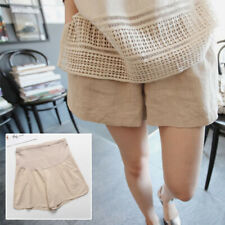 Maternity Pregnancy Lady Pregnant Cotton Linen Shorts Over Bump Pants Summer