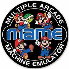 MAME - Retro Video Arcade Game Mario Sticker - 95mm Diameter - Gaming Decal