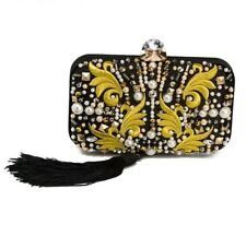 BLACK YELLOW TASSLE BEADED STUDDED PEARL CLUTCH CROSSBODY HANDBAG SHOULDER BAG