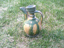 RARE! Primitive Antique ceramic bowl pitcher for Wine and brandy 19th century *