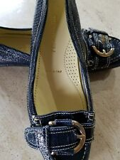 NWOB BRUNO MAGLI Blue Patent Leather croc with buckle Flat Shoes Sz 38.5