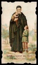 St.VINCENT PAUL w/Poor CHILDREN, Patron Hospitals. Original old Litho HOLY CARD