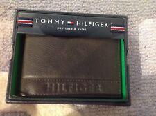 En cuir Tommy Hilfiger deux volets Portefeuille & Valet Marron Logo Estampé