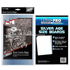 Ultra Pro Silver Age Size Comic Bags x 100 + White Comic Backing Boards x 100