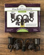 """Epic Wine Bottle Candelabra Candles Holder Rustic Vine Holds 2 Pillars Up To 1"""""""