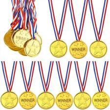 12 Children Kids Gold Winner Medals Sports Day Party Bag Fillers Awards Toys