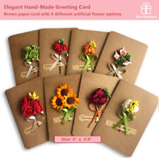 DIY Hand-Made Artificial Flower Brown Greeting Card Package