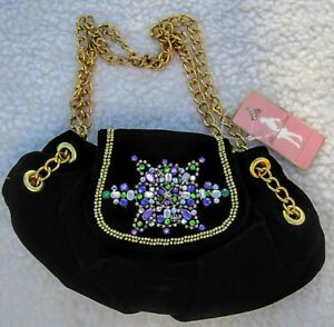 PARIS HILTON Black Velvet Evening Bag
