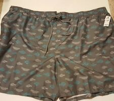 dbe034cb983 Basic Editions 4x Mens Swimsuit Swim Bathing Trunks Gray Fish Trout Print