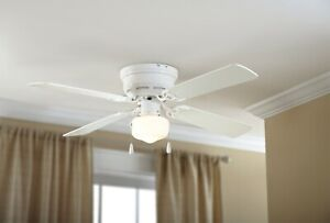 """Mainstays 42"""" Hugger Metal Indoor Ceiling Fan with Single Light, White, 4 Blades"""