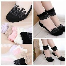 Ultra Thin Women's Transparent Socks Breathable Lady Crystal Lace Ankle Socks UK